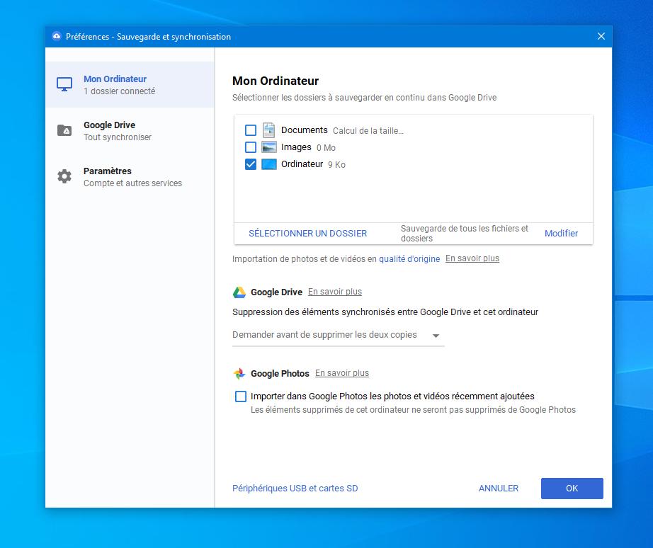 """Fenêtre principale de l'application """"Sauvegarde et synchronisation"""" de Google Drive."""