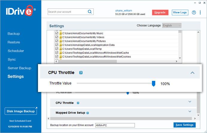 Gestion du CPU sur IDrive