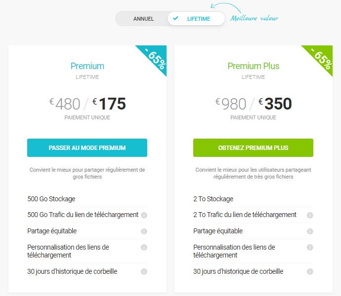 """Capture de présentation des offres """"lifetime"""" sur le site de pCloud"""