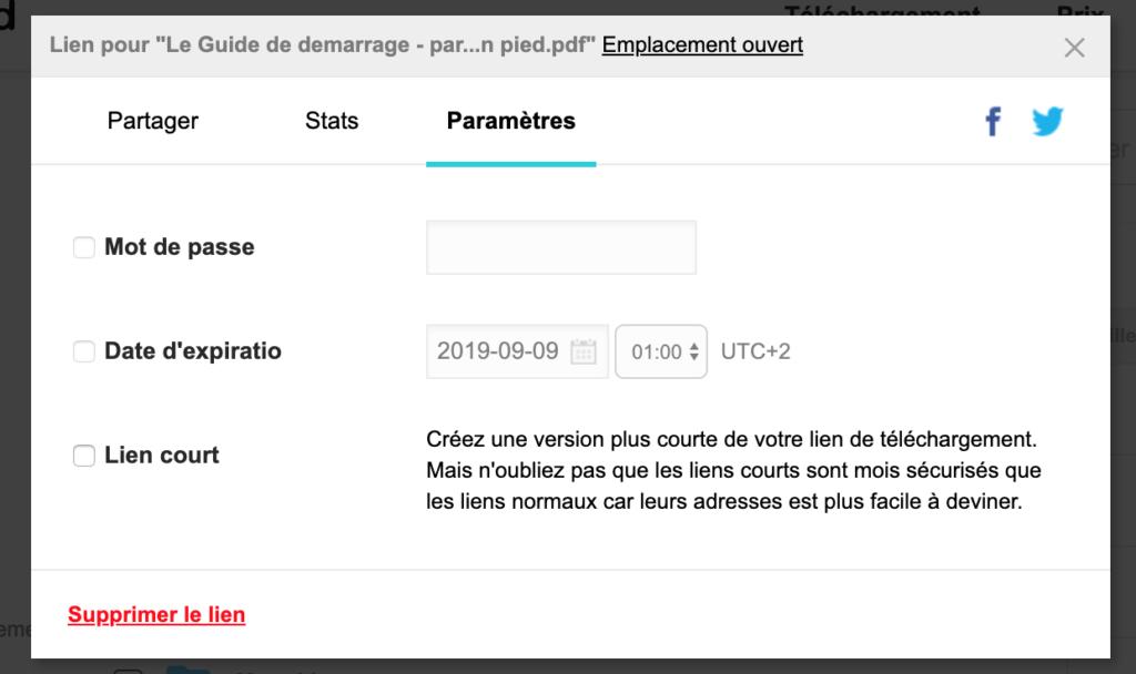 Fenêtre de configuration du partage de votre fichier en ligne.