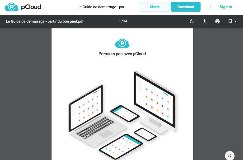 Visualisation d'un fichier PDF partagé en ligne avec pCloud.