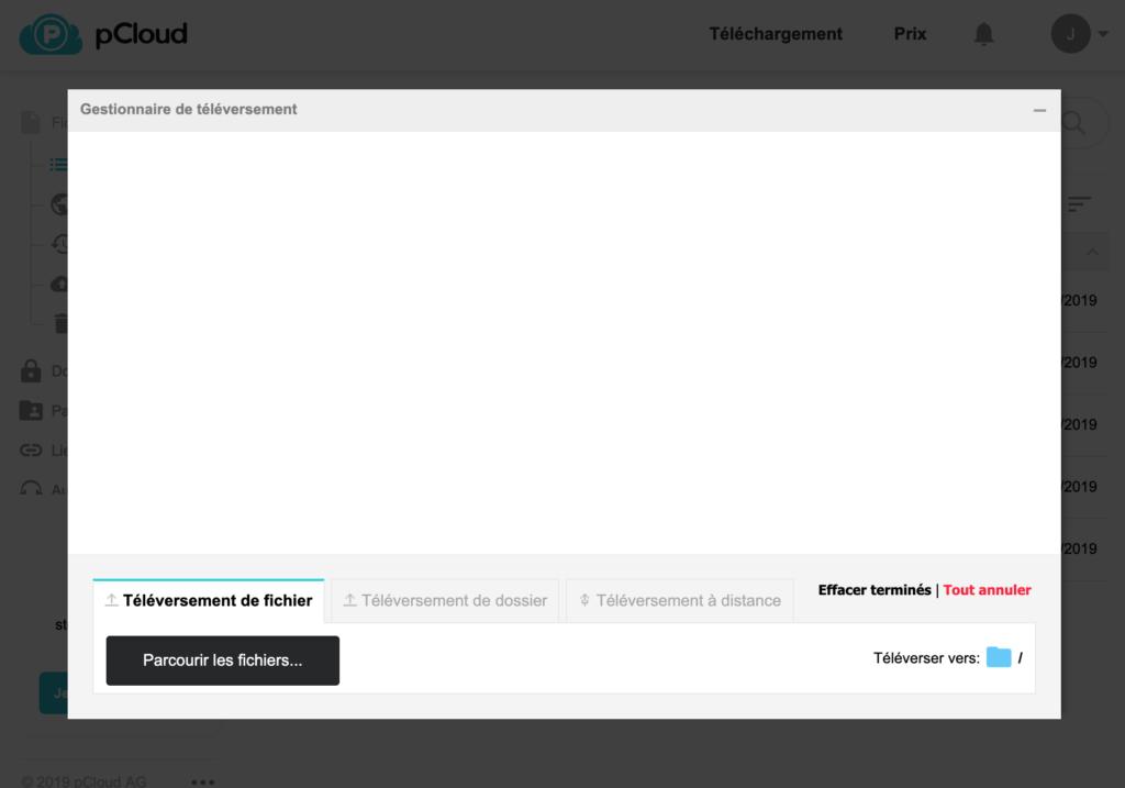 Fenêtre de téléversement de fichiers sur l'espace de stockage cloud pCloud.
