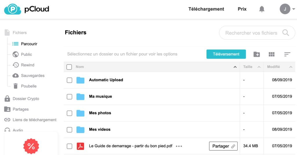 Sélection du fichier à partager en ligne sur pCloud.