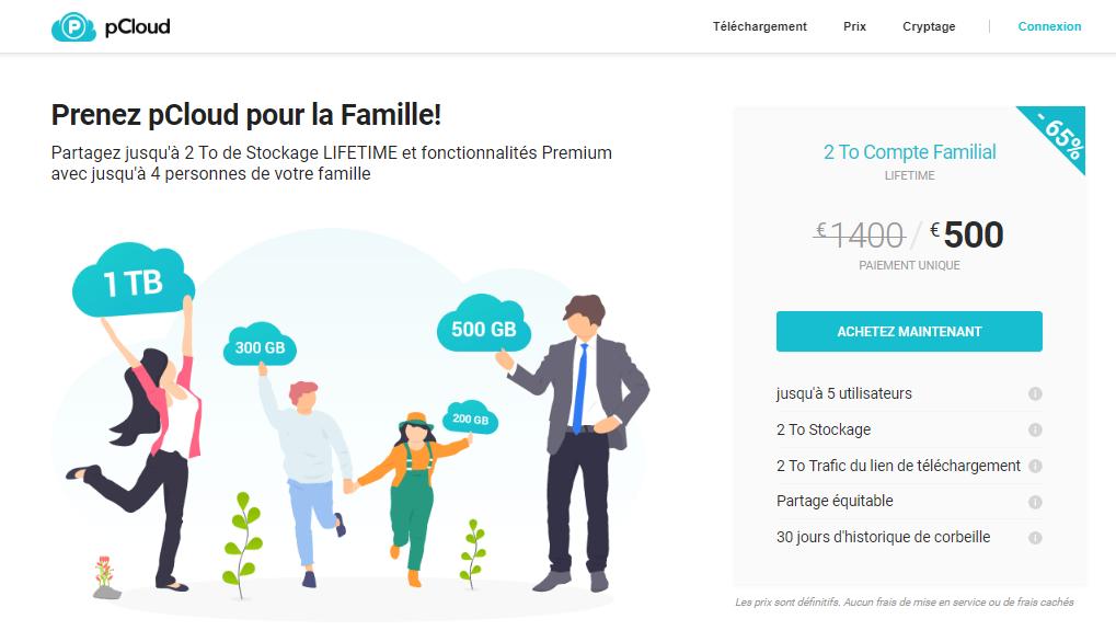 Présentation de l'offre famille de pCloud