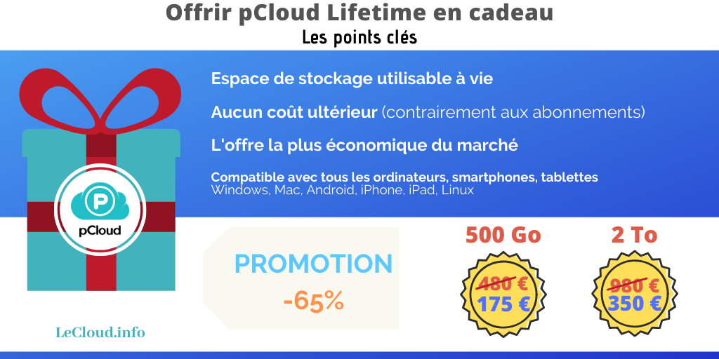 Les points clés du stockage à vie pCloud Lifetime.
